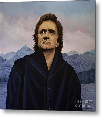 Johnny Cash Painting Metal Print by Paul Meijering