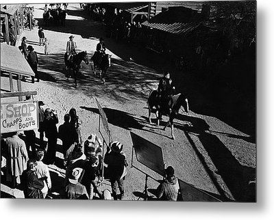 Metal Print featuring the photograph Johnny Cash Riding Horse Filming Promo Main Street Old Tucson Arizona 1971 by David Lee Guss