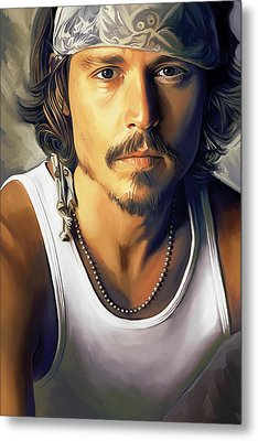 Johnny Depp Artwork Metal Print by Sheraz A