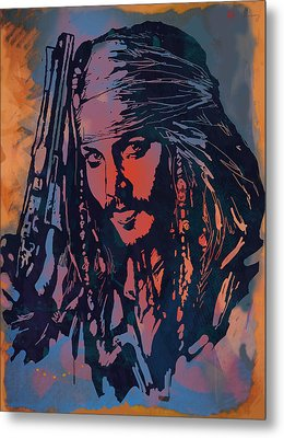 Johnny Depp - Stylised Etching Pop Art Poster Metal Print by Kim Wang