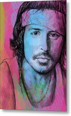 Johnny Depp - Stylised Pop Art Drawing Sketch Poster Metal Print by Kim Wang