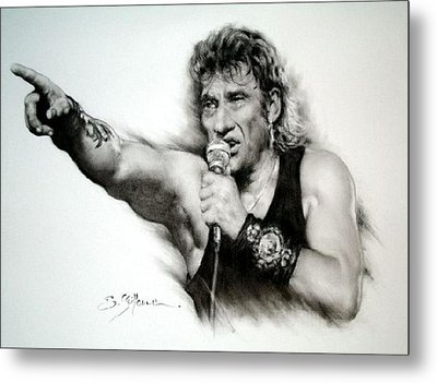 Johnny Halliday Metal Print by Guillaume Bruno