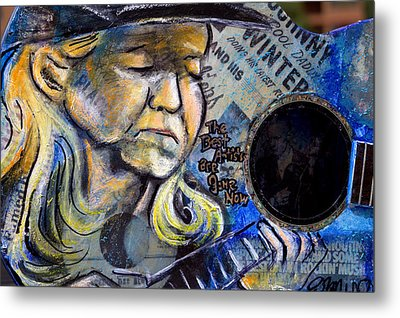 Johnny Winter Painted Guitar Metal Print