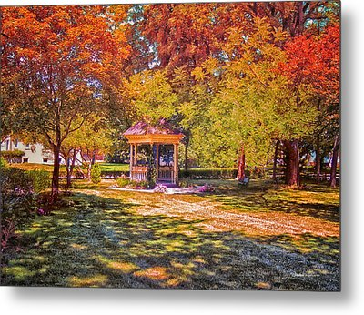 Join Me In The Gazebo On This Beautiful Autumn Day Metal Print by Thomas Woolworth