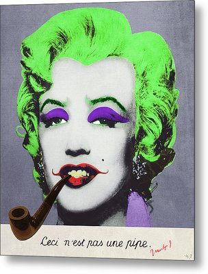 Joker Marilyn With Surreal Pipe Metal Print by Filippo B
