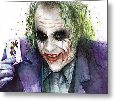 Joker Watercolor Portrait Metal Print by Olga Shvartsur