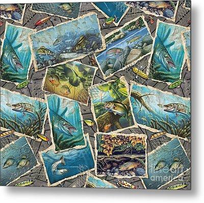 Jon Q Wright Fish Paintings Pillow Metal Print by Jon Q Wright