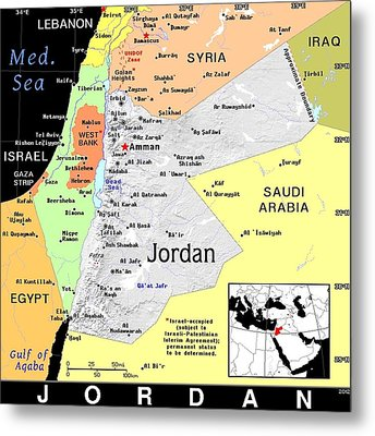 Jordan Exotic Map Metal Print by Florene Welebny