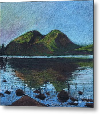 Metal Print featuring the painting Jordon Pond And The Bubbles by Susan Herbst