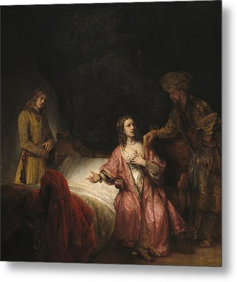 Joseph Accused By Potiphar's Wife Metal Print by Rembrandt