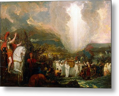Joshua Passing The River Jordan With The Ark Of The Covenant Metal Print by Benjamin West