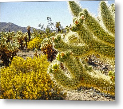 Joshua Tree Cholla Cactus Garden Metal Print by Gregory Dyer