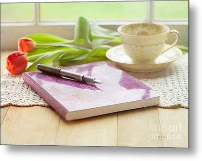 Journal And Coffee Metal Print by Kay Pickens