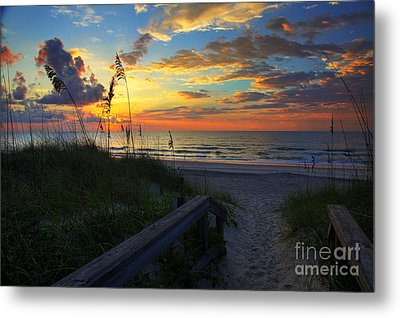 Joy Comes In The Morning Sunrise Carolina Beach Nc Metal Print by Wayne Moran