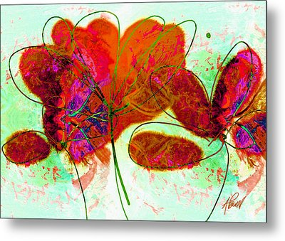 Joy Flower Abstract Metal Print by Ann Powell