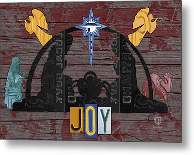Joy Nativity Scene Recycled License Plate Art Metal Print by Design Turnpike