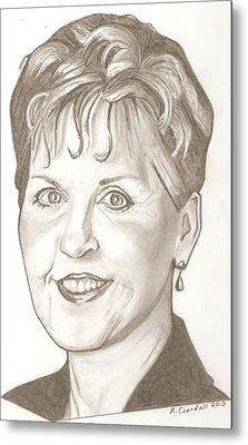 Joyce Meyer Drawing Metal Print by Robert Crandall
