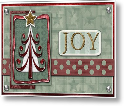 Joyful Tree Card Metal Print by Arline Wagner