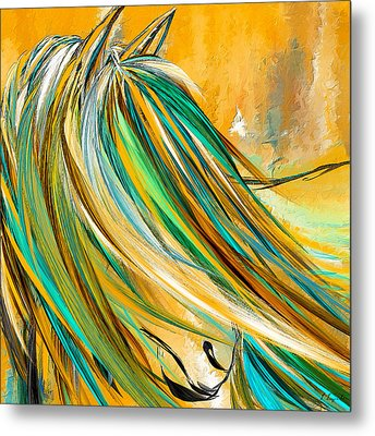 Joyous Soul- Yellow And Turquoise Artwork Metal Print by Lourry Legarde