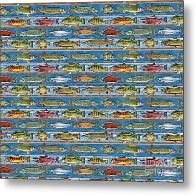 Jqw Fish Row Bedding Metal Print