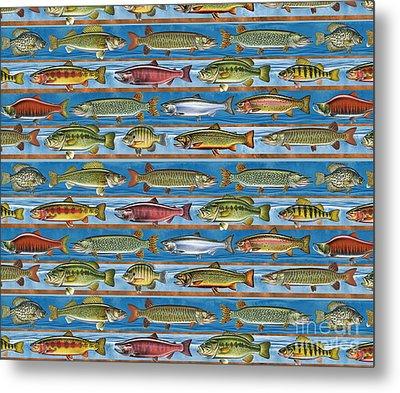Jqw Fish Row Pillow Metal Print