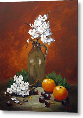 Jug And Blossoms Metal Print