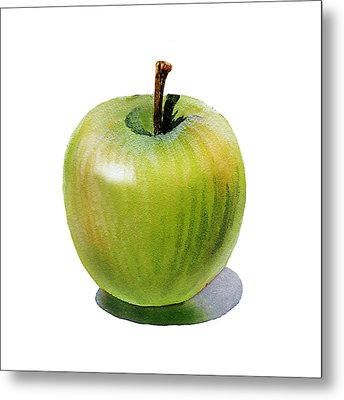 Metal Print featuring the painting Juicy Green Apple by Irina Sztukowski