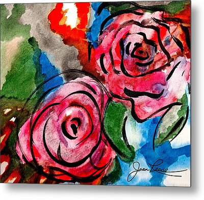 Metal Print featuring the painting Juicy Red Roses by Joan Reese