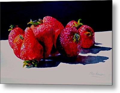 Metal Print featuring the painting Juicy Strawberries by Sher Nasser