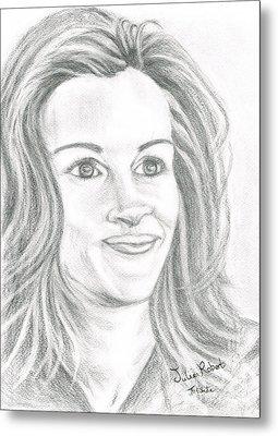Metal Print featuring the drawing Julia Roberts by Teresa White