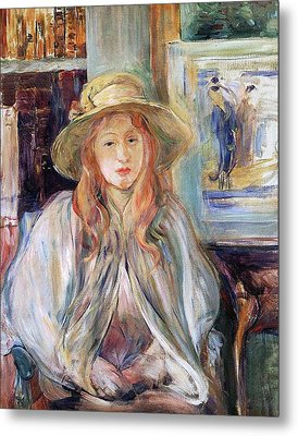 Julie Manet With A Straw Hat Metal Print by Berthe Morisot