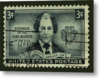 Girl Scouts Founder Juliette Gordon Low Postage Stamp Metal Print by Phil Cardamone