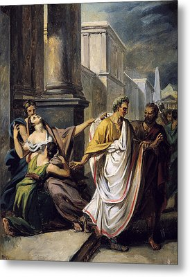 Julius Caesar 100-44 Bc On His Way To The Senate On The Ides Of March Oil On Canvas Study Metal Print by Abel de Pujol