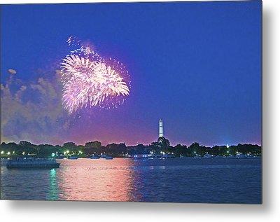 July 4th Fireworks Along The Potomac Metal Print by Steven Barrows