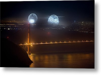July Fourth Over The Bay Metal Print by Daniel Furon