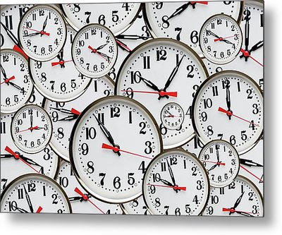 Jumbled Clock Times Metal Print by Victor De Schwanberg