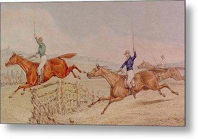 Jumping A Fence Metal Print by Henry Thomas Alken