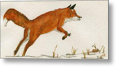 Jumping Red Fox Metal Print by Juan  Bosco