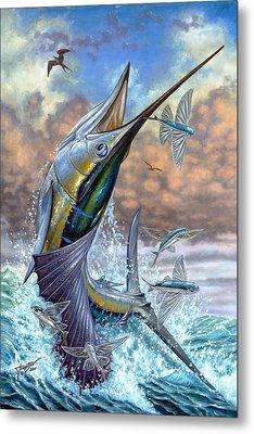 Jumping Sailfish And Flying Fishes Metal Print