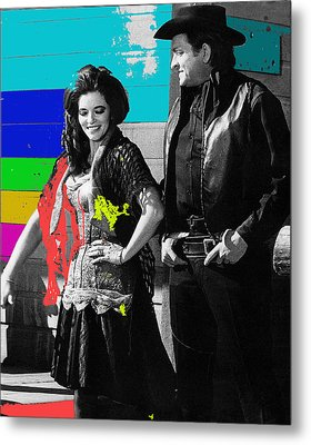 Metal Print featuring the photograph June Carter Cash Johnny Cash In Costume Old Tucson Az 1971-2008 by David Lee Guss