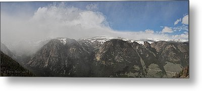 June Snow Squall Coming Down The Valley Metal Print