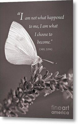 Jung Quotation And Butterfly Metal Print by Chris Scroggins