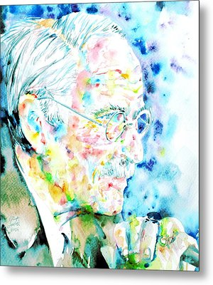 Jung - Watercolor Portrait.1 Metal Print by Fabrizio Cassetta