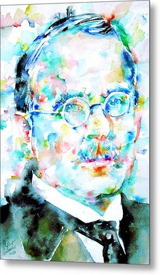 Jung - Watercolor Portrait.3 Metal Print by Fabrizio Cassetta