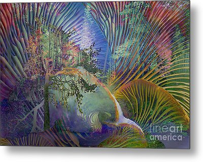 Jungle Mushrooms Metal Print by Ursula Freer