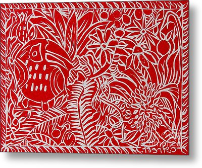 Jungle Scene With Toucan Red On White Metal Print