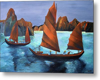 Metal Print featuring the painting Junks In The Descending Dragon Bay by Tracey Harrington-Simpson