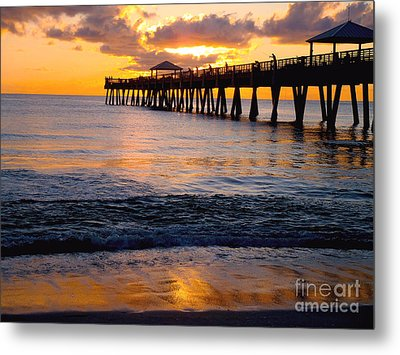 Juno Beach Pier Metal Print by Carey Chen