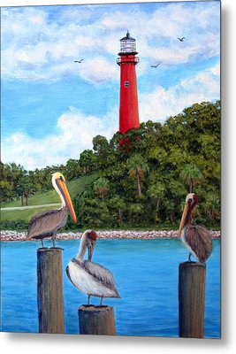 Jupiter Inlet Pelicans Metal Print by Fran Brooks