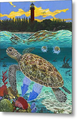 Jupiter Turtle Metal Print by Carey Chen